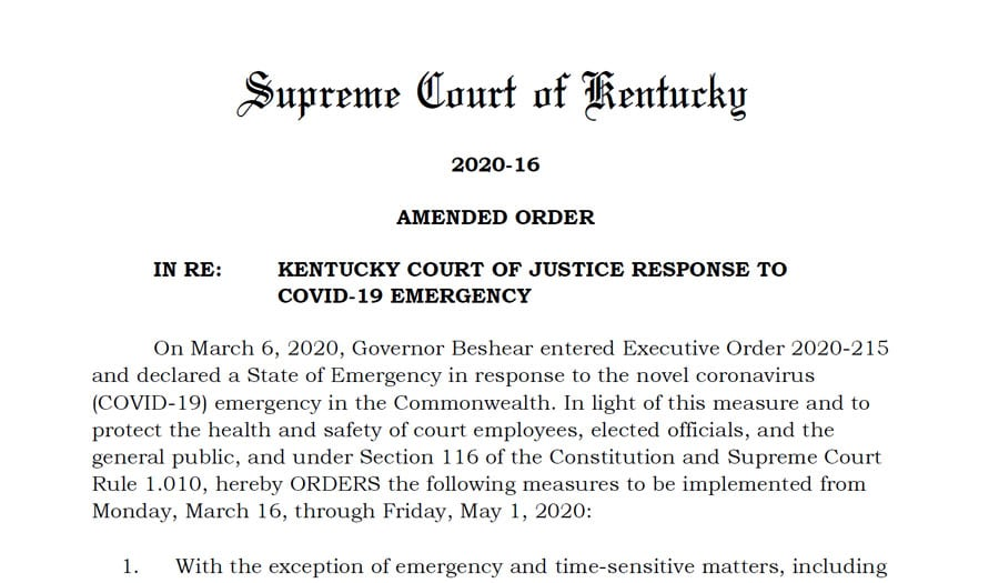 COVID-19 Update: Supreme Court of Kentucky Amended Order