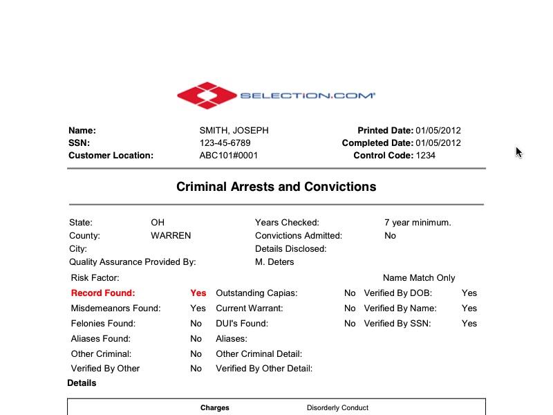 State Criminal Background Check - Selection com
