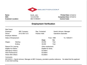 Employment Verification Check Selection Com