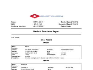 Medical sanctions background check for General motors criminal background check